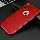 Man Metal Bumper+Leather Shockproof Luxury Back for iPhone 7/8/X XS/XR/Xs Max