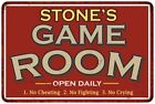 STONES Game Room Personalized Sign Vintage Look Metal Wall 108120001438