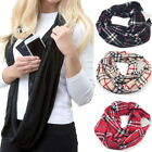 Infinity Scarf With Hidden Zipper Pocket Travel Secure Checked Plaid Women Men