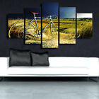 Vintage Bicycle Summer Grass Field 5 Piece Canvas Print Wall Art