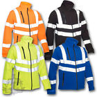 SECURITY WINTER SOFT SHELL JACKET COAT HIGH VISIBILITY REFLECTIVE WATERPROOF