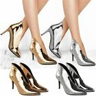 New Womens Ladies Stilettos Medium Heels Ankle Boots Plunge Party Shoes Size