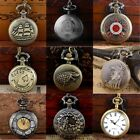 Antique Steampunk Pocket Watch Retro Quartz Vintage Pendant Chain Necklace Gift image