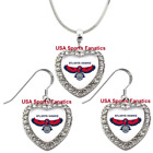 Atlanta Hawks 925 Necklace / Earrings or Set Team Heart With Rhinestones on eBay