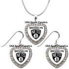 Brooklyn Nets 925 Necklace / Earrings or Set Team Heart With Rhinestones on eBay