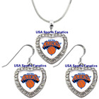 New York Knicks 925 Necklace / Earrings or Set Team Heart With Rhinestones on eBay
