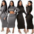 Women High Neck Long dress Solid Color Hollow out 2 Used Bodycon Maxi dress