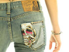 CHRISTIAN AUDIGIER Hearst Luxury Designer Women's Decorative Bootcut Skull Jeans