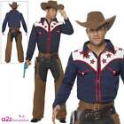 Rodeo Cowboy Costume + Hat Adult Mens Wild West Western Fancy Dress Outfit