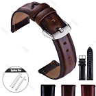 Coffee 18 20 22mm Genuine Leather Watch Strap Quick Release Wristwatch Bands image