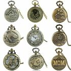 Vintage Pocket Watch Steampunk Antique Retro Necklace Quartz Pendant Chain Gift image