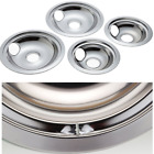 GE Hotpoint Chrome Stove Drip Pans Electric Burner Covers 4 Top Replacement Set photo