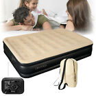 Inflatable High Raised Double Air Bed Mattress Builtin Electric Pump 3 Size Beds