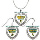 Oakland Athletics 925 Necklace / Earrings or Set Team Heart With Rhinestones on Ebay