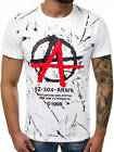 T-Shirt Kurzarm Shirt Aufdruck U-Neck Slim Fit Fitness Herren OZONEE 9047 MIX