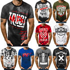 Kyпить T-Shirt Kurzarm Shirt Aufdruck U-Neck Slim Fit Fitness Herren OZONEE 9047 MIX на еВаy.соm