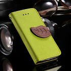 Flip Magnetic Wallet Leaf PU Leather Stand Silicone Soft Phone Case For Samsung