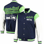 SEATTLE SEAHAWKS NFL SUPERBOWL CHAMPION COMMEMORATIVE ELITE VARSITY JACKET $150 on eBay