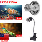 US 25-100W UVA UVB Heat Emitter Lamp+Holder Bulb Light Heater Pet Reptile Turtle