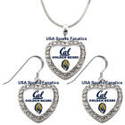 Cal Golden Bears 925 Necklace / Earrings or Set Team Heart W/Rhinestones