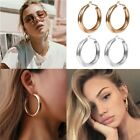 Large Chunky Alloy Hoop Earrings Minimalist Thick Tube Round Circle Ring Jewelry