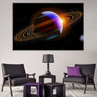 Saturn Planet In Dark Space 1 Panel Canvas Print Wall Art