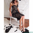 Fashion Women Party Evening Cocktail Lace Midi Dress Camis Lace Floral BodyCon