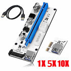 Lot USB 3.0 PCI-E Express 1x To 16x Extender VER Riser Card Adapter Power Cable