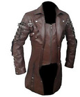 Mens Goth Matrix Trench Coat Steampunk Gothic Leather Jacket Real Leather Coats