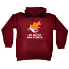 Funny Kids Childrens Hoodie Hoody - I Do All My Own Stunts Flame