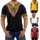 Men's African Dashiki Tribal Print Shirt Succinct Hippie Short Sleeve Top Blouse