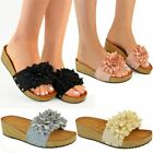 Ladies Womens Low Heel Wedge Comfort Sandals Cushioned Summer Footbed Size