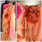 Designer Bollywood Linen cotton digital printed saree with weaving zari pallu IS