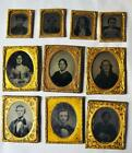LOT OF 10 CIVIL WAR ERA AMBROTYPE PHOTOGRAPH IMAGES - 1/9TH 7 1/16TH PLATE SIZE <br/> No Reserve!