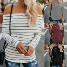 Womens Off Shoulder T Shirt Ladies Long Sleeve Tops Chunky Knit Sweater Jumper