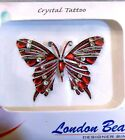 London Beauty CRYSTAL BUTTERFLY Body Art Adhesive TATTOO in RED BLUE PINK 1.5x2""