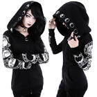 Women Gothic Jacket Witch Cosplay Cape Jacket Hooded Hoodie Zipper Outwear Tops