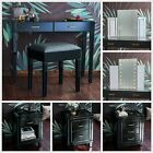 'Black Glass Mirrored Bedroom Furniture - Dressing Table Sets And Bedside Tables