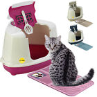 CatCentre® Large Hooded Corner Cat Litter Tray + Toilet Box Mat in 3 Colours