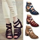 Womens Summer Zipper Rivet Chunky Heel Ankle Shoes Hallow-out Peep Toe Sandals