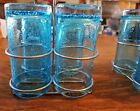 4 Blue bubble drinking glasses hand blown w holder and ice tea spoons
