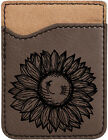 Sunflower Laser Engraved Leather Phone Wallet