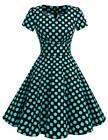 DRESSTELLS Vintage 1950s Solid Color Prom Dresses Short Sleeved Retro Audery