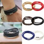 Leather Braided Wristband Bracelet Stainless Steel Magnetic Clasp Men Women Hot