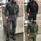 Men Jumpsuit Casual Long Sleeve Romper Baseball Collar Solid color Brand New