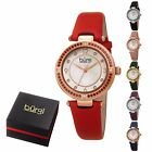 Women's Burgi BUR251 Quartz Watch Color Stones Diamond Marker 3 Hands Satin Stra