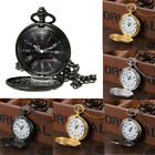 Antique Mechanical Skeleton Steampunk Men Pocket Watch Open Case Chain Necklace image