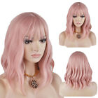 US Fashion Smoke Pink Lace Front Wig Wavy Long Cosplay Synthetic Hair Full Head