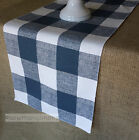 Navy Blue Plaid Table Runner Buffalo Check Country Dining Room Home Decor Linens