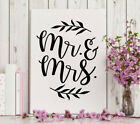 Mr and Mrs Vinyl Removable Wall Decal Sticker Kitchen Living Room Wedding Decor